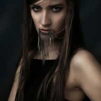 Model wearing septum ring & clothing for fashion catalogue