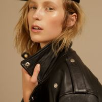 bohemian fashion makeup on blonde model with beret