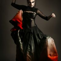 Vampy editorial fashion makeup on dark-haired model