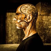 Special bodypaint showing brain and anatomical details by Maya Lewis