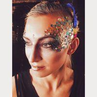 Glitter and gemstone makeup for London nightclub