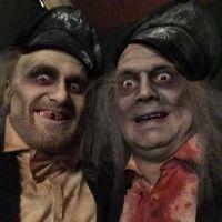 Actors with Dickensian Halloween makeup & clothing