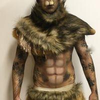The Lion Man bodypainted by Maya Lewis & Shiv Ashman