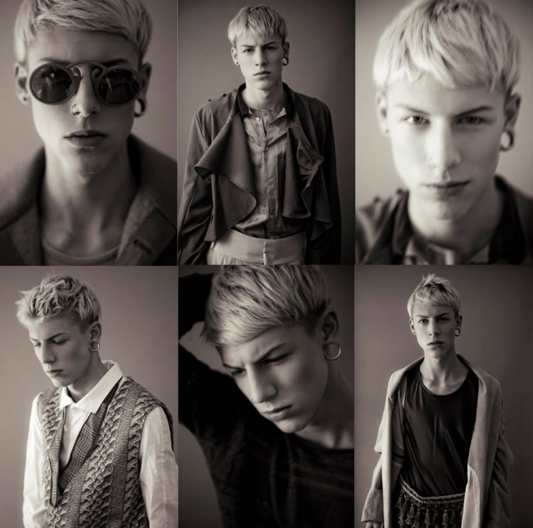 Collage of male fashion models