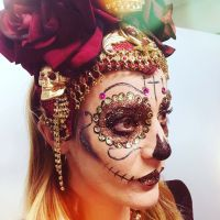 Sugar skull makeup with gems and glitter